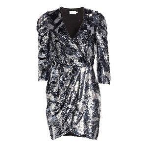 NWT Tanya Taylor Sequin Gray Camo Zoey Mini Dress